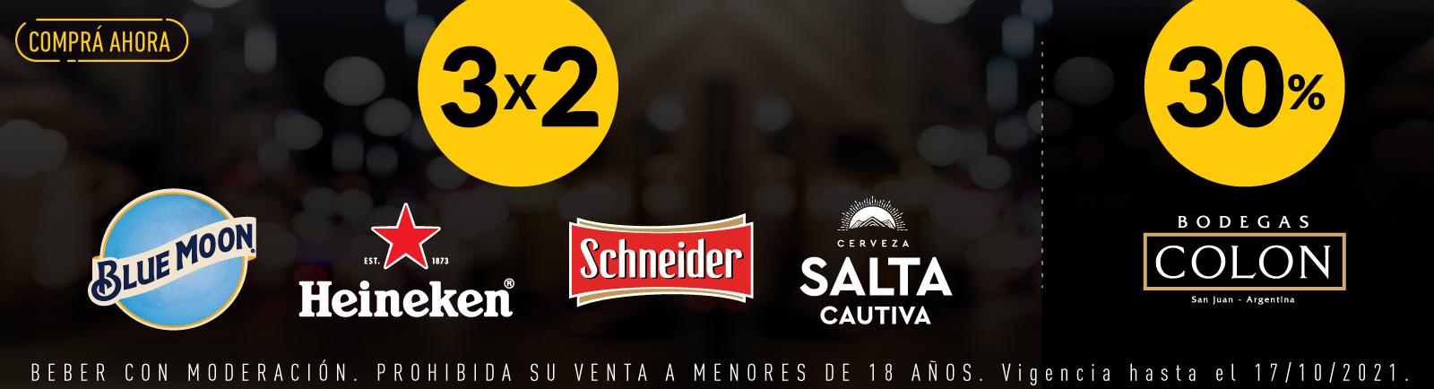 CCU - Cervezas 3x2 - Vinos 30% Off