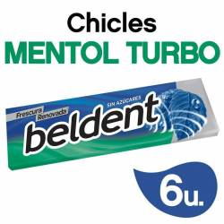 Chicles Beldent Mentol Turbo x 10 g.