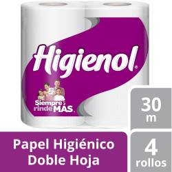 Papel Higiénico D.H. mas Blanco Higienol Dúo 30 m x 4 un.