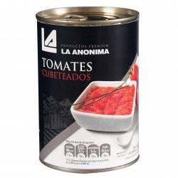 Tomate Pelado Cubeteado La Anónima con Abre Fácil x 400 g.