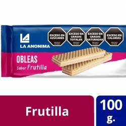 Obleas Dulces con Relleno de Frutilla La Anónima x 100 g.