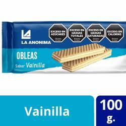 Obleas Dulces con Relleno Vainilla La Anónima x 100 g.