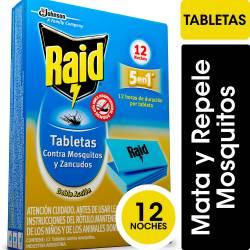 Insecticida Tabletas Raid 12 Noches x 12 un.