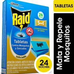 Insecticida Tabletas Raid Repuesto 24 Noches x 24 un.