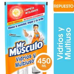 Limpiador Líquido Vidrios y Multiuso Mr. Musculo Doy Pack x 450 cc.