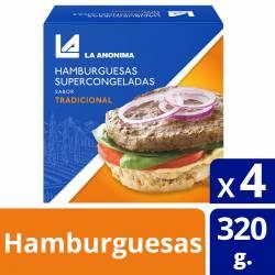 Hamburguesa de Carne Vacuna x 4 un. La Anónima x 320 gr.