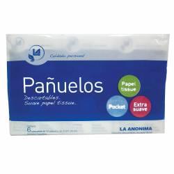 Pañuelos Papel La Anónima Pack 6x10 x 60 un.