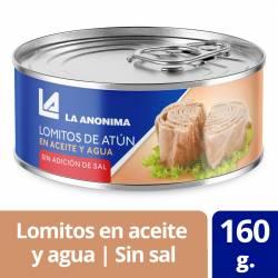 Atún en Aceite y Agua en Lomos s/ sal agregada La Anónima x 160 g.