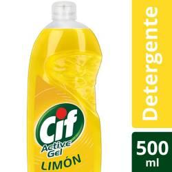 Detergente Líquido Active Gel Cif Limón x 500 cc.