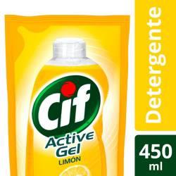 Detergente Líquido Active Gel Cif Limón Doy Pack x 450 cc.