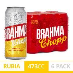 Cerveza Brahma Pack x 6 Latas de 473 cc.
