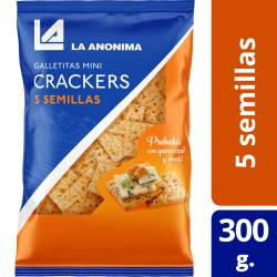 Galletitas Mini Crackers 5 Semillas Bolsa La Anónima x 300 g.