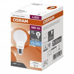 Lámpara Led 7W Luz Fría E27 Value Osram x 1 un.