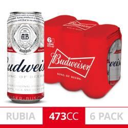 Cerveza Budweiser Pack x 6 Latas de 473 cc.