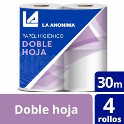 Papel Higiénico Doble Hoja Premium La Anónima 30 m x 4 rollos x 12 m2