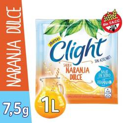 Polvo para preparar jugo Clight Naranja Dulce x 7 g.