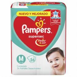 Pañal Pampers Súper Sec Mega Pack M Babysan x 26 un.