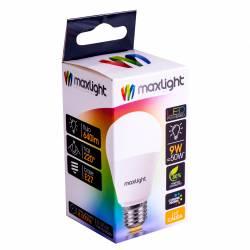 Lámpara Led 9W Luz Cálida E27 Maxlight x 1 un.