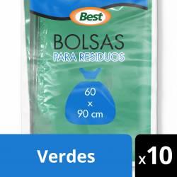Bolsas para Residuos Best 60x90cm verdes x 10 un.