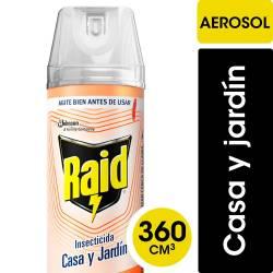 Insecticida Aerosol Casa y Jardín Raid Acuosa x 360 cc.