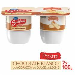 Postre de Chocolate Blanco con Dulce de Leche Sublime x 200 g.