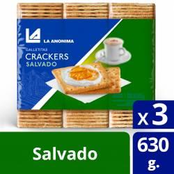 Galletitas Crackers Salvado (3 unidades) La Anónima x 630 g.