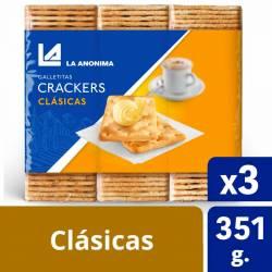 Galletitas Crackers (3 unidades) La Anónima x 351 g.