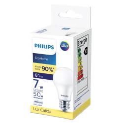 Lámpara Led 7w Luz Cálida E27 Ecohome Philips x 1 un.