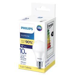 Lámpara Led 10W Luz Cálida E27 Ecohome Philips x 1 un.