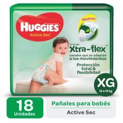 Pañal Huggies XG Active Sec Mega x 18 un.