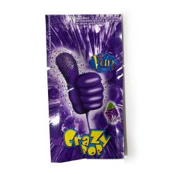 Chupetín c/Caramelo Crazy Pop Chispeante Uva x 12 g.