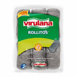 Lana de Acero Virulana Rollitos x 6 un.