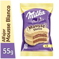 Alfajor Chocolate Blanco Milka Mousse Triple x 55 g.