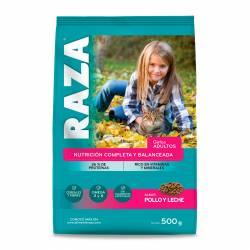 Alimento para Gato Pollo y Leche Raza x 500 g.