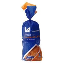 Pan para Hamburguesa x 4 un. La Anónima con Sésamo x 200 g.