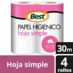 Papel Higiénico H.S. Best 30 m x 4 un. x 12 m2