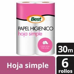 Papel Higiénico Hoja Simple Best 30 m x 6 un. x 18 m2