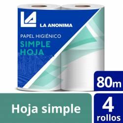 Papel Higiénico Hoja Simple La Anónima 80 m x 4 rollos x 32 m2