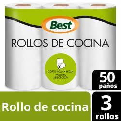 Rollo Cocina Best 3 x 50 paños x 3 un.