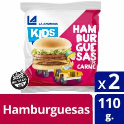 Hamburguesas de Carne Vacuna Kids La Anónima x 2 un. 110 gr.