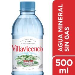 Agua Mineral sin gas Villavicencio x 500 cc.