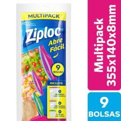 Bolsas p/Alimentos Multipack Ziploc x 9 un.