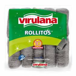 Lana de Acero Virulana Rollitos x 10 un.