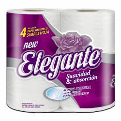 Papel Higiénico Hoja Simple Elegante 30 Mts Blanco x 4 un.