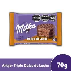 Alfajor Chocolate Milka con Dulce de Leche Triple x 70 g.