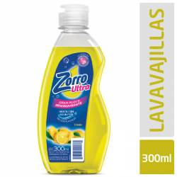 Detergente Líquido Zorro Ultra Limón x 4 un. 300 cc.
