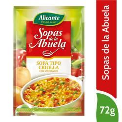 Sopa con Fideos y Verduras Alicante Tipo Criolla x 72 g.
