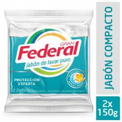 Jabón en Pan Blanco Gran Federal Máximo Rendimiento x 300 g.