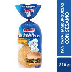Pan para Hamburguesas Lacteado Bimbo con Sésamo x 4 un. 210 g.