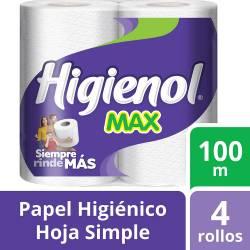 Papel Higiénico Hoja Simple Higienol Max 100 m x 4 un.